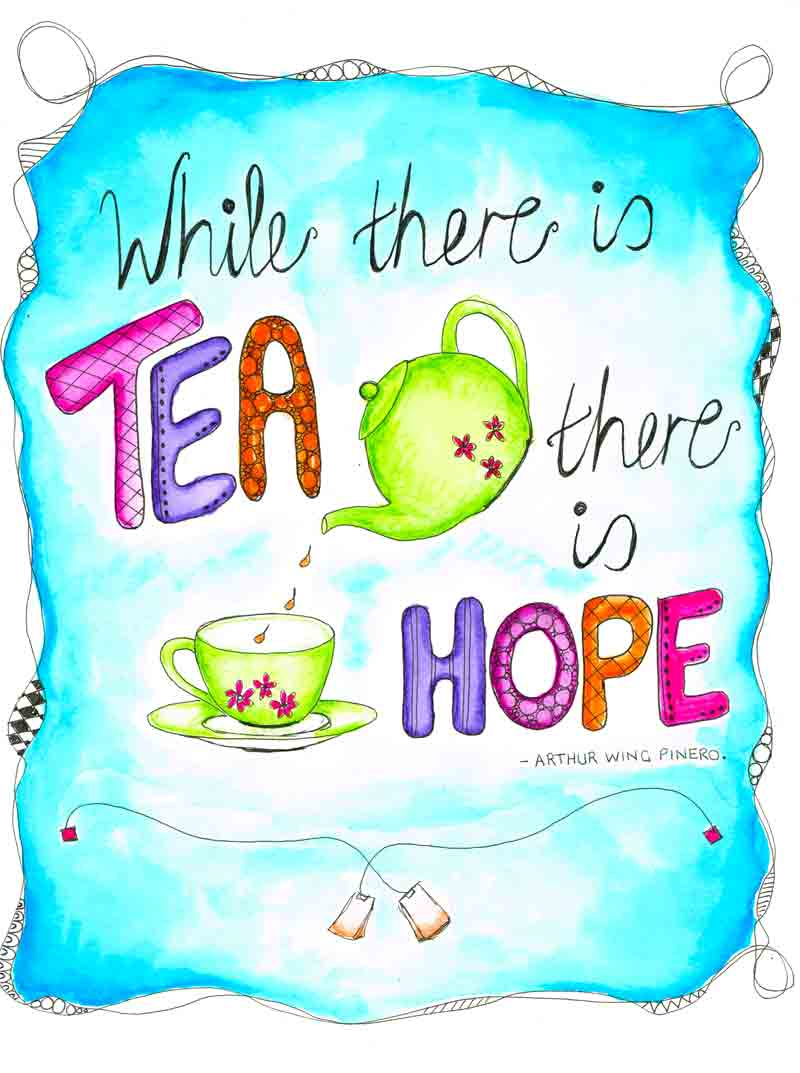 Tea and lettering for no 14 in the tea time series