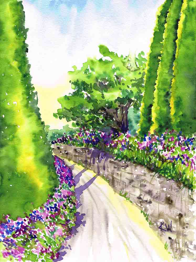"Garden Path no 8 Sunlit Bend (Watercolour on paper, 9""x12"")"