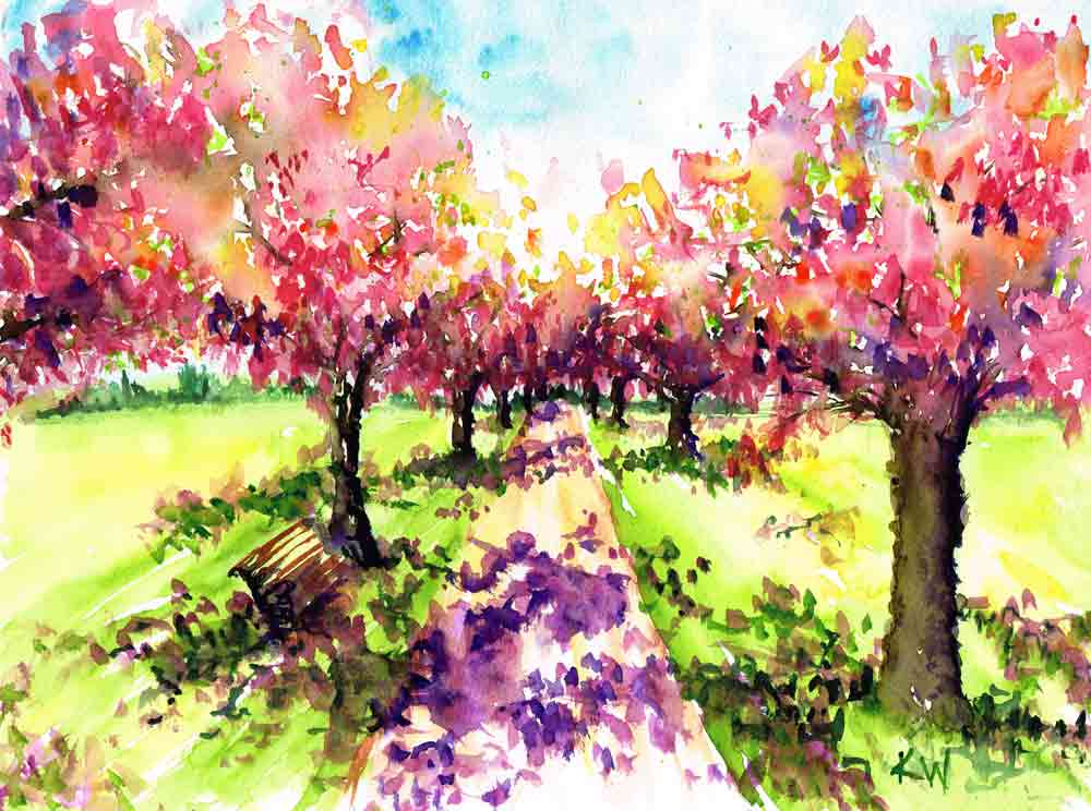 "Garden Path no 7 Shaded Bench (Watercolour on Paper, 9""x12"")"