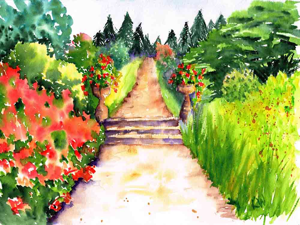 "Garden Path no 2 Flowering Sentinels (Watercolour on Paper 9""x12"")"