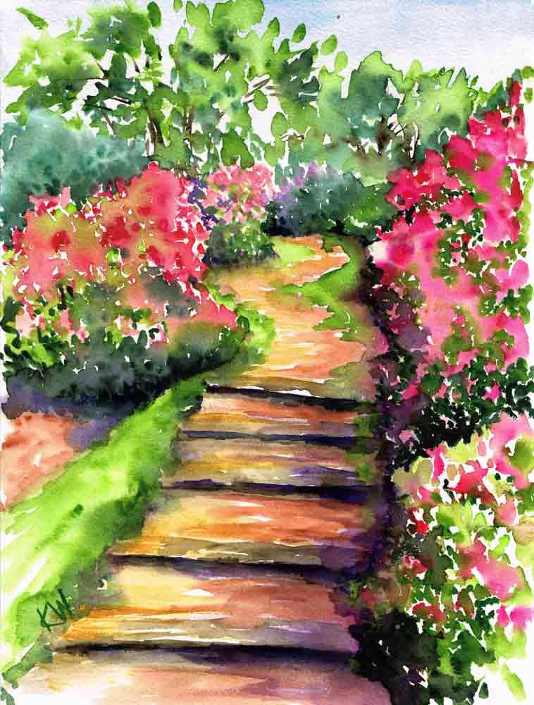 "Garden Path no 1 Bouganvillea Steps (Watercolour on Paper 9""x12"")"