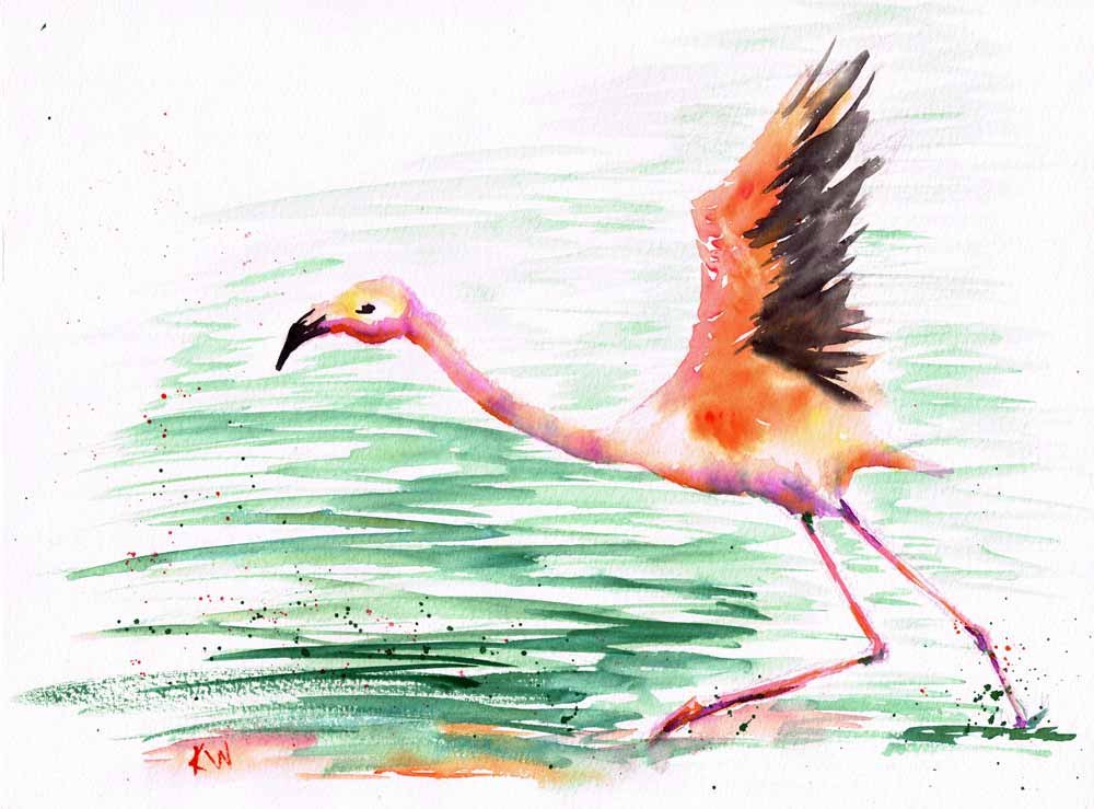 """Dramatic Birds no 8 On My Way! (Watercolour on Paper, 9""""x12"""")"""