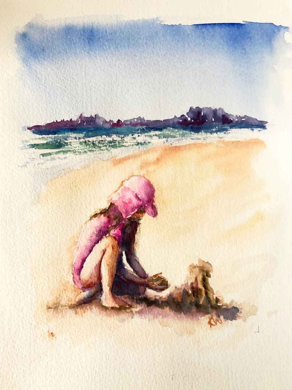 Beach Holiday no 1 - A Girl and Her Sandcastle (Watercolour on paper 8 x 11 inches