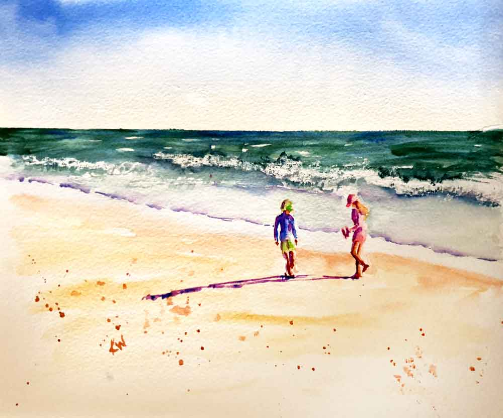 "Beach Holiday no 8 Twins (Watercolour on Paper 8"" x 11"")"