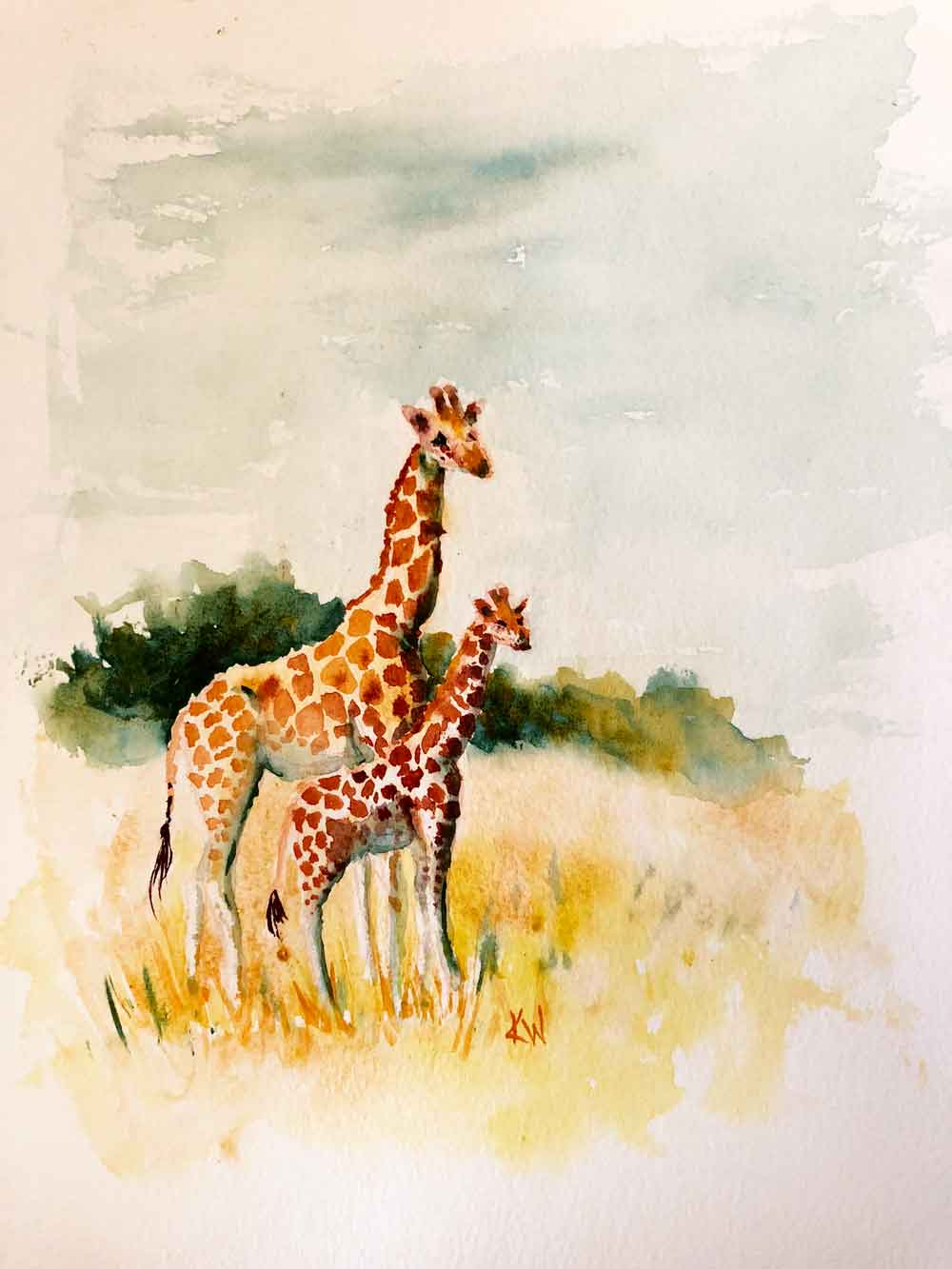 "Giraffes no 3 Mother and Baby (Watercolour on Paper, 8""x11"")"
