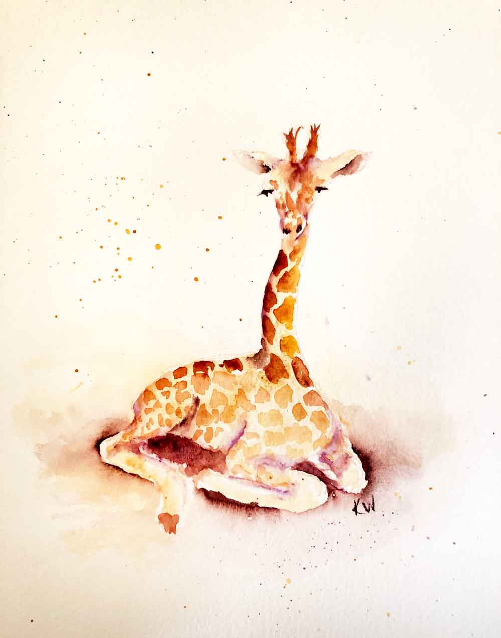 Giraffes no 5 - Seated (Watercolour on paper 8.5 x 11 inches)