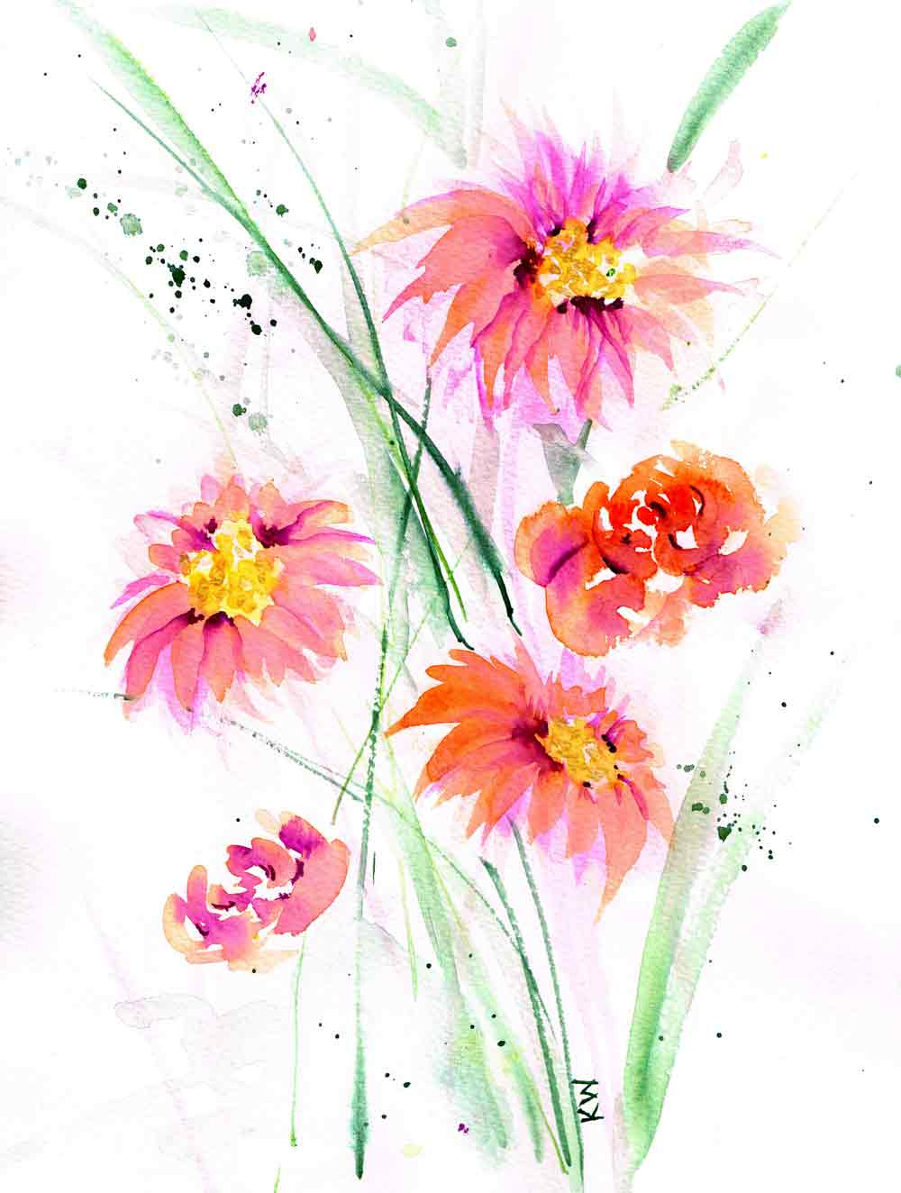 "Fresh Flowers no 2 - (Watercolour on paper, 9""x 12"")"