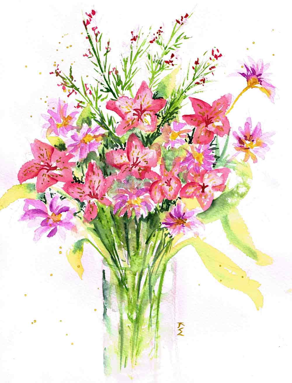 "Fresh Flowers no 7 Abundance (Watercolour on paper, 9""x 12"")"