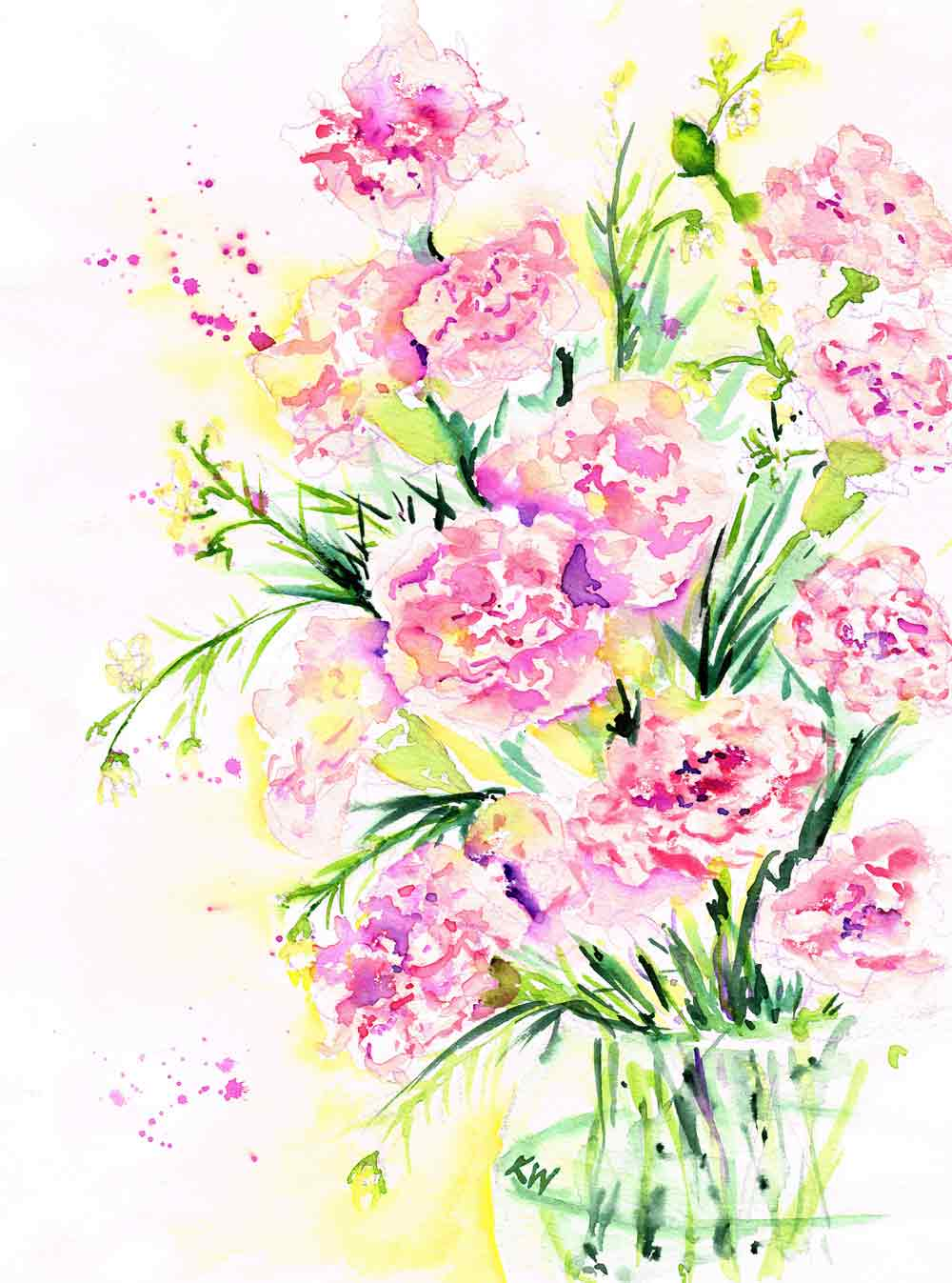"Fresh Flowers no 3 Vase of Carnations (Watercolour, on paper 9""x12"")"