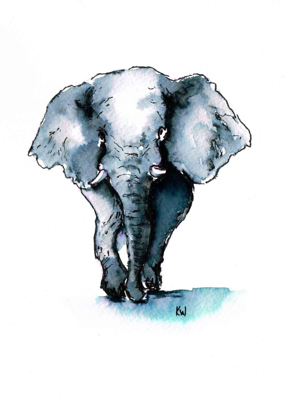 "Elephants no 1 - (Watercolour marker on paper, 5.8""x 8.3"")"
