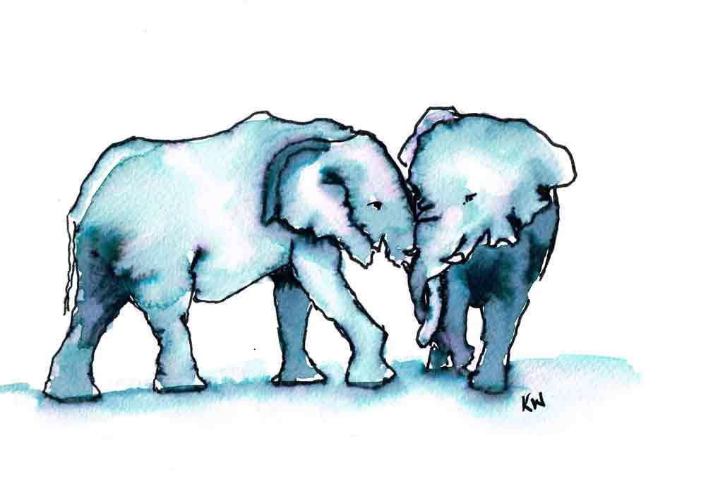 "Elephants no 6- (Watercolour marker on paper, 5.8""x 8.3"")"