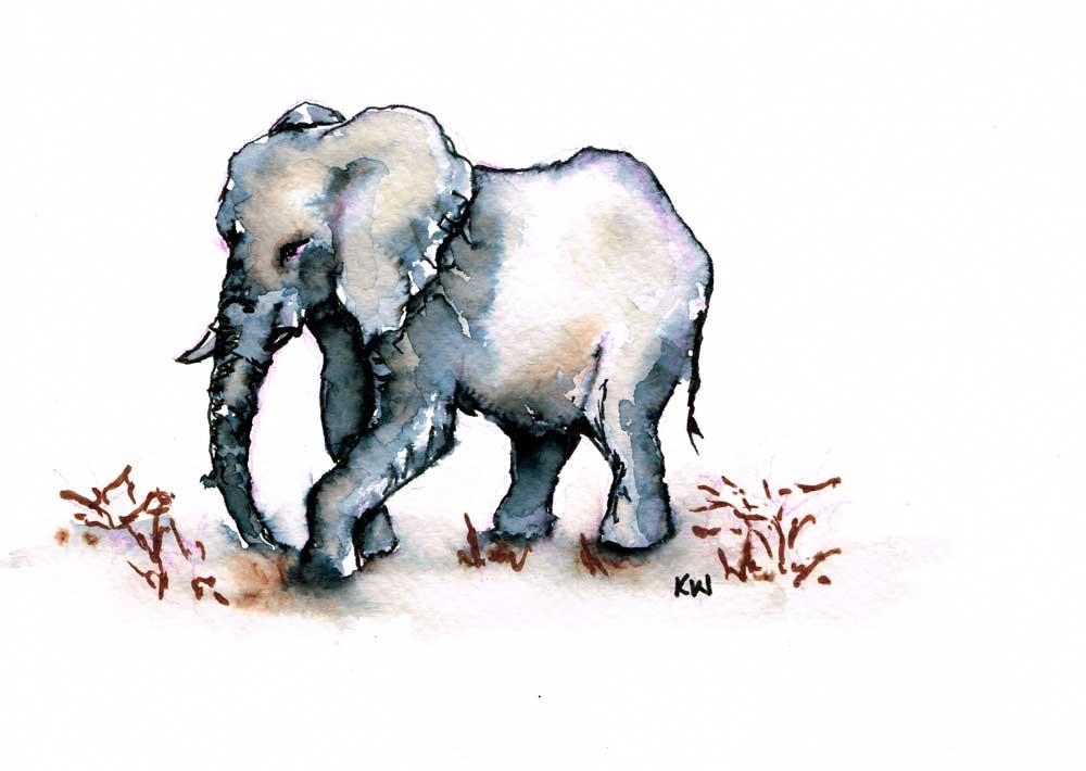 "Elephants no 4 - (Watercolour marker on paper, 5.8""x 8.3"")"