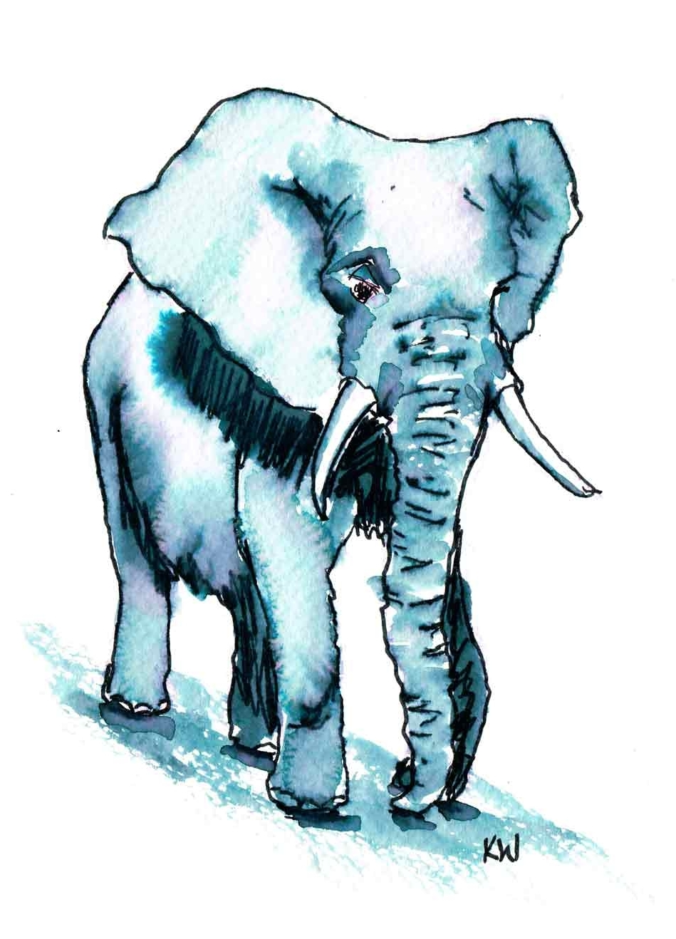 "Elephants no 7 - (Watercolour marker on paper, 5.8""x 8.3"")"