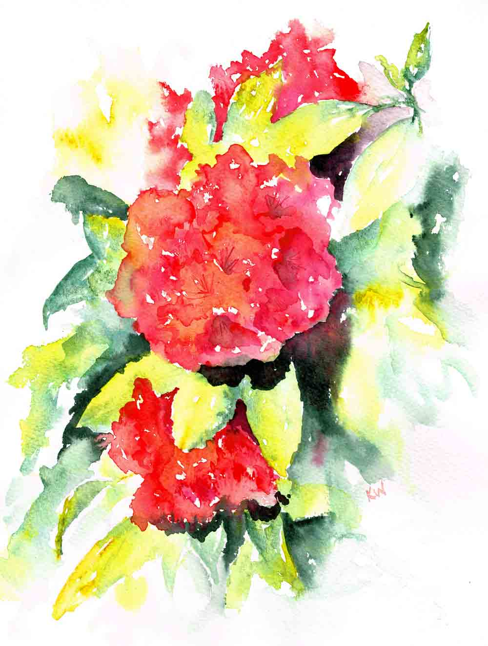 "Rhododendron Gardens no 2 (Watercolour on paper, 9""x 12"")"