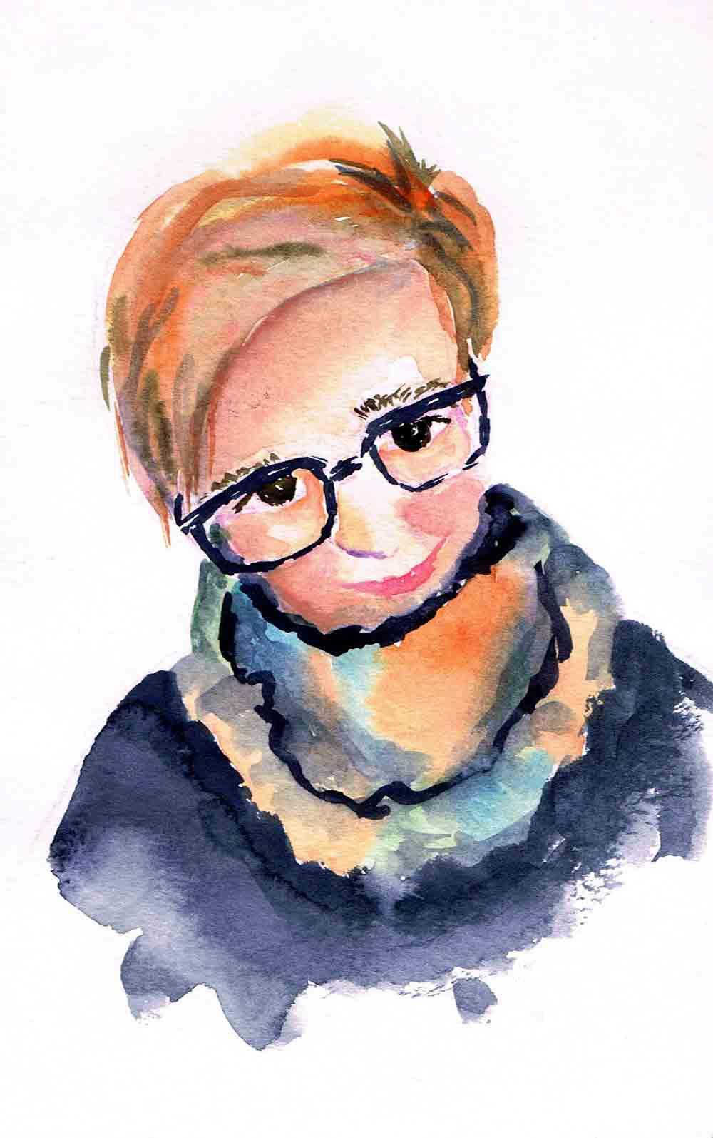 "Watercolour portraits no 4 Snuggly Scarf- (Watercolour sketchbook 5""x 8"")"