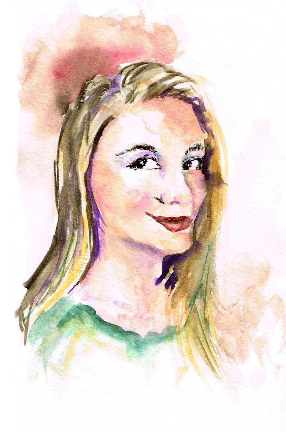 """Watercolour portraits no 2 - Blonde With a Secret (Watercolour sketchbook 5""""x 8"""")"""