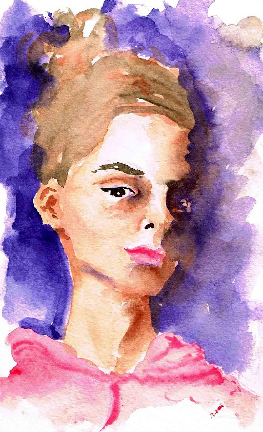"Watercolour portraits no 5 - In Shadow (Watercolour sketchbook 5""x 8"")"