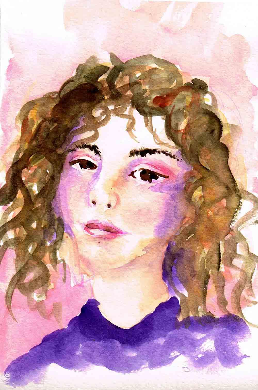 """Watercolour portraits no 6 - Contemplation (Watercolour sketchbook 5""""x 8"""")"""