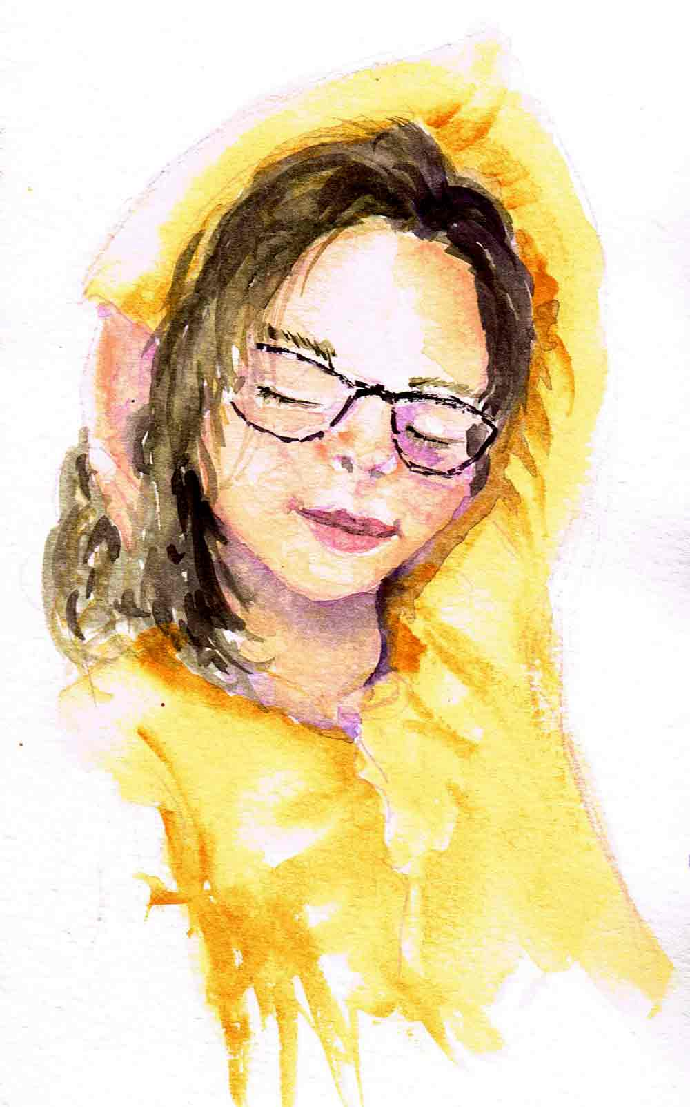 "Watercolour portraits no 3 - Thoughtful Rest (Watercolour sketchbook 5""x 8"")"
