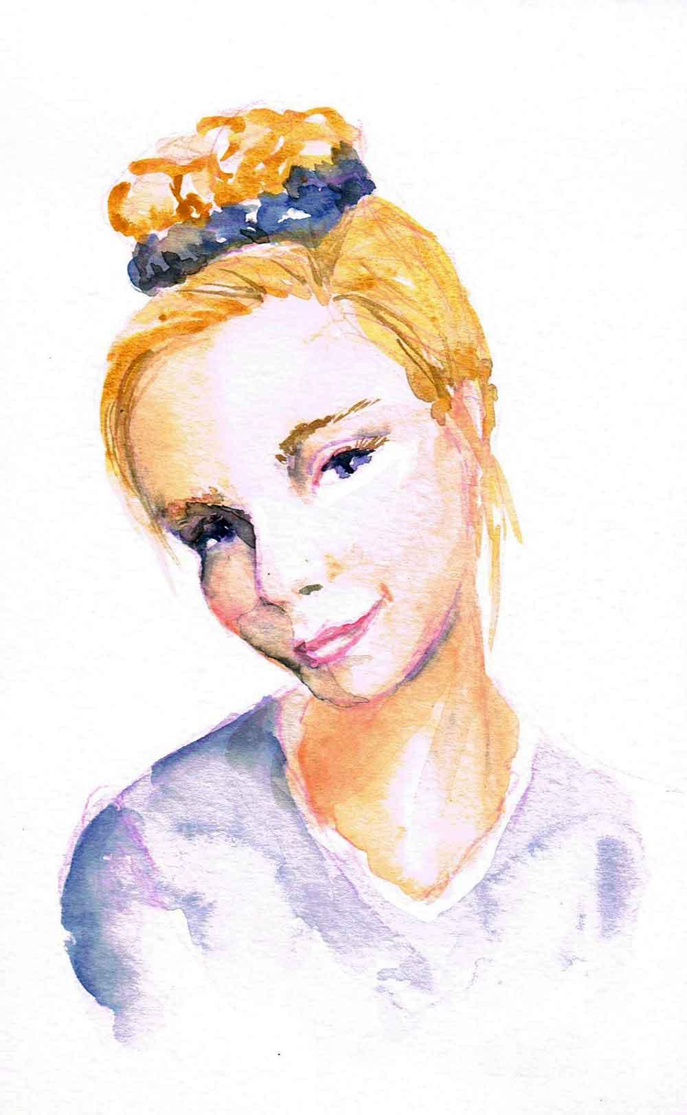 "Watercolour portraits no 7 - Shy (Watercolour sketchbook 5""x 8"")"