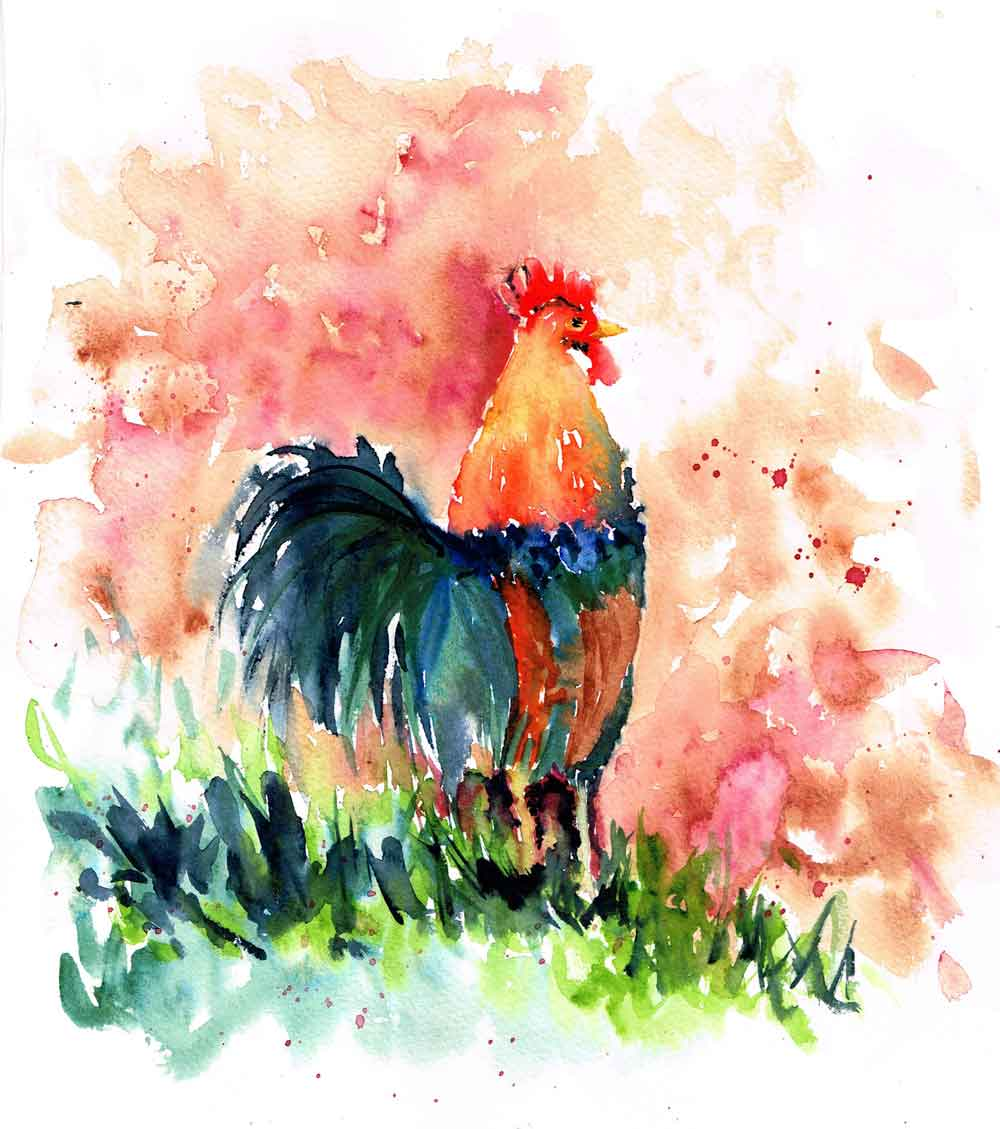 "Rainbow Roosters no 2 - Good Clean Dirt (Watercolour on Paper 8""x 10"")"