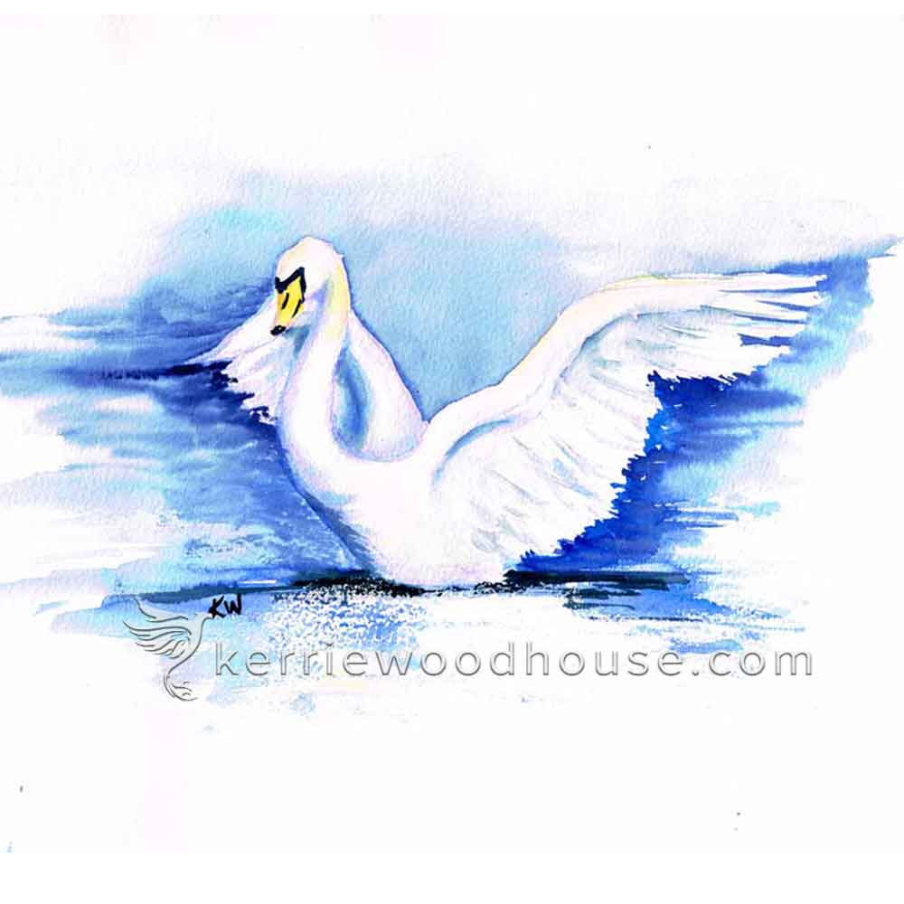 This white swan was painted in watercolour with no white paint at all. Click the image above to see more dramatic birds painted in watercolour.