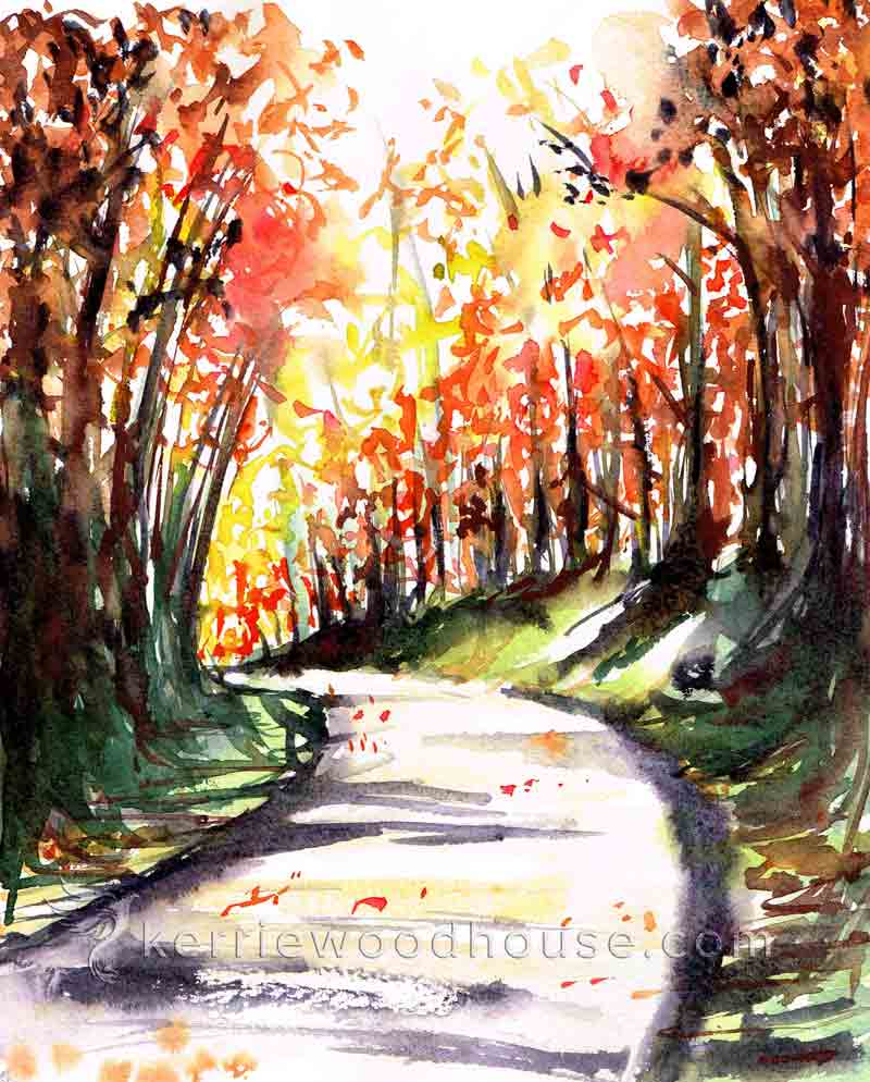 "Autumn no 1 - Autumn path (Watercolour on paper 8"" x 10"")"