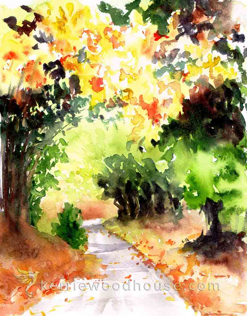 "Autumn no 2 - Autumn Bend (Watercolour on Paper 8"" x 10"")"
