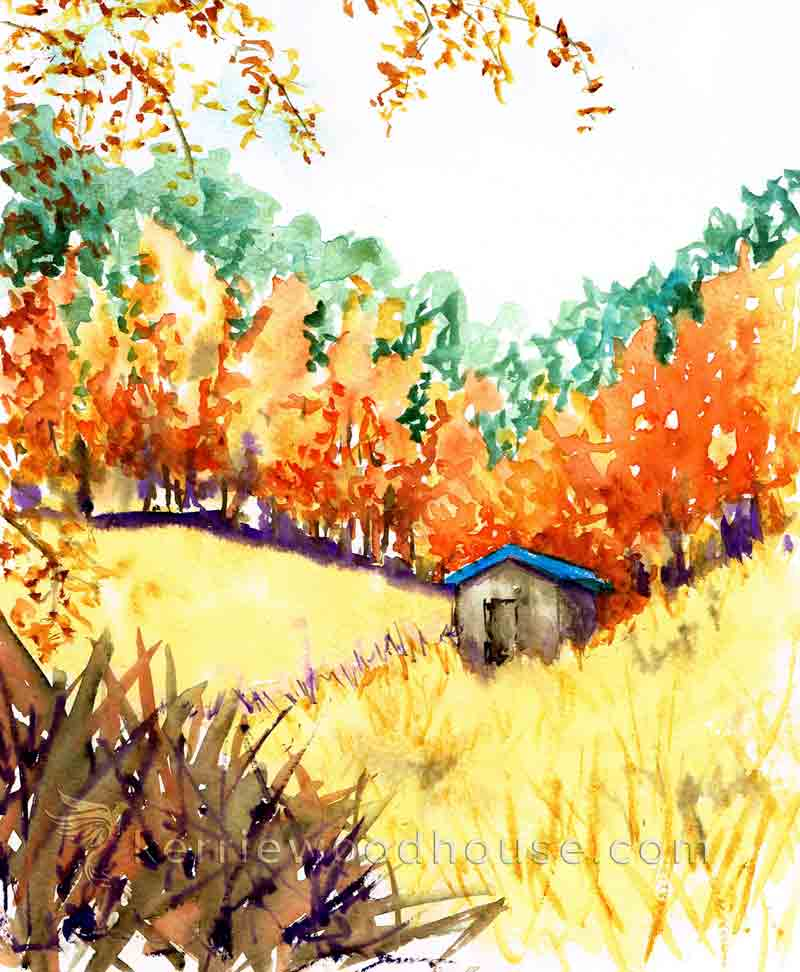 "Autumn no 4 - Autumn Shed (Watercolour on Paper 8"" x 10"")"