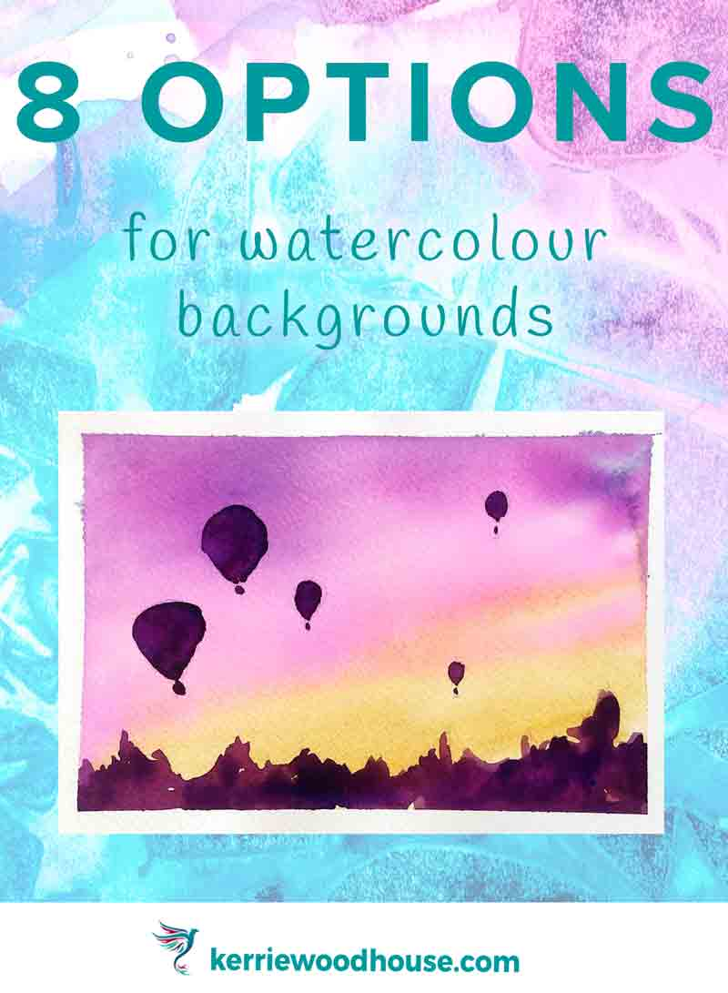 Since these hot air balloons are in silhouette it is appropriate that they are darker than the background. In tis case it makes sense to paint the sky as a background wash over the entire painting and let it dry before painting the balloons over the top.