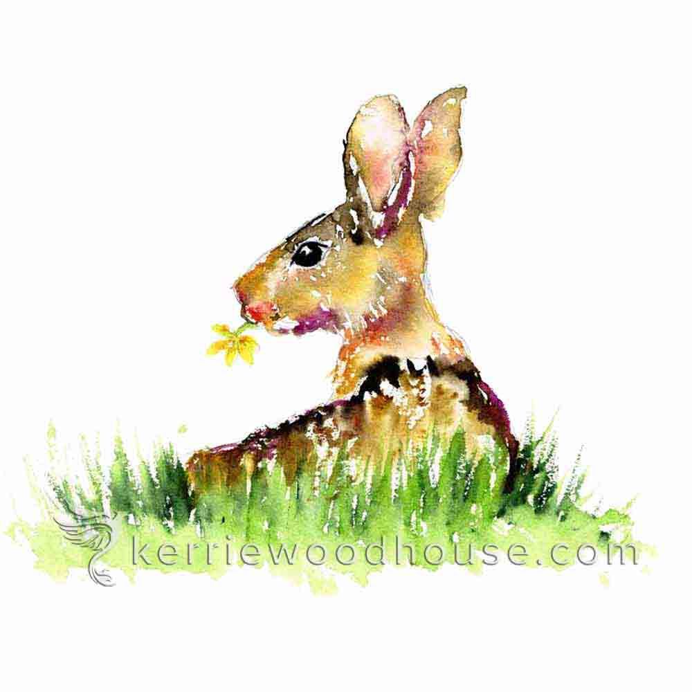 A hint of grass is enough to place this bunny in the fresh air