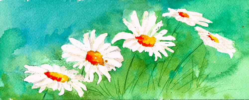 Painting everything but the daisies (ie the background) creates the daisies - this is what we call negative painting.