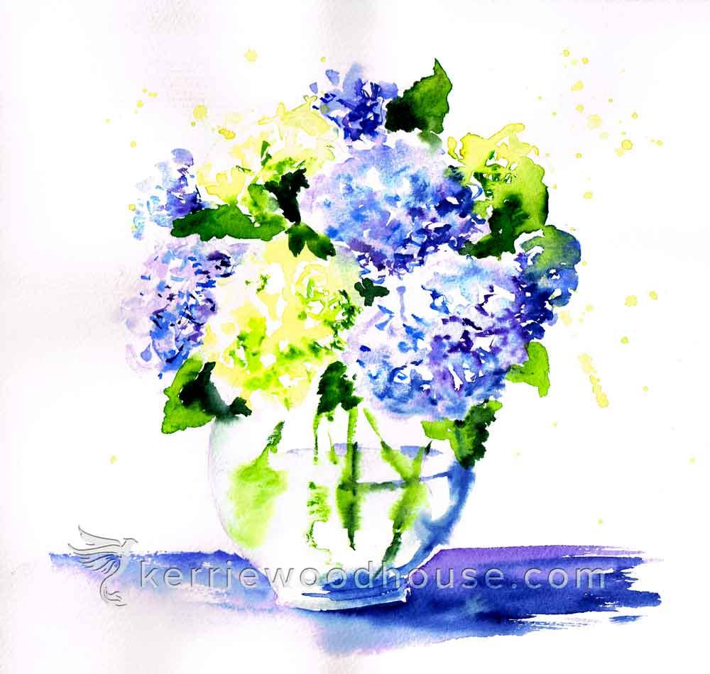 "Hydrangeas no 3 - Blue Hydrangeas (Watercolour on Paper 8"" x 10"")"