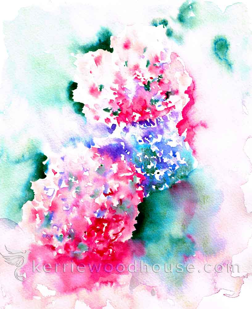 """Hydrangeas no 1 - Abstractedly pink (Watercolour on Paper 8"""" x 10"""")"""