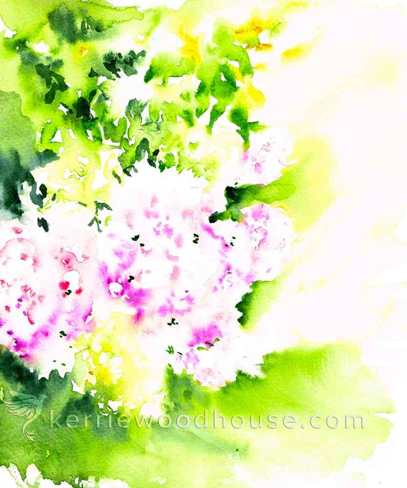 "Hydrangeas no 2- Sunny Abstract (Watercolour on Paper 8"" x 10"")"