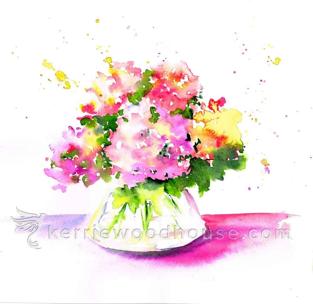 """Hydrangeas no 5- Delight (Watercolour on Paper 8"""" x 10"""")"""