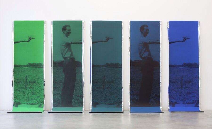 Sreshta Rit Premnath  Toners, Dyes, 2011  acrylic paint and inkjet print on mirrored mylar, 5 parts, each 213 x 61 cm