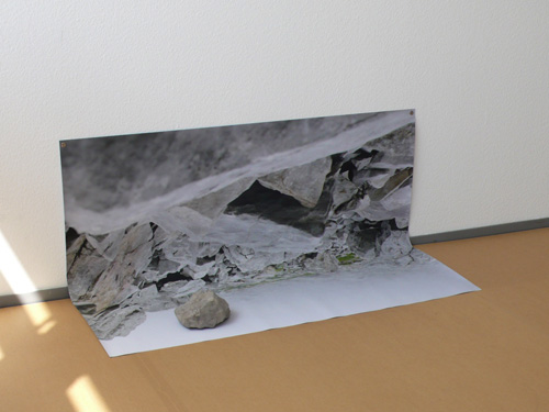 Helen Mirra  Rock Mind (fog)  2009  color photograph, rock  54 x 135 x 54 cm