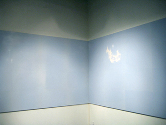 Emilie Halpern    Overcast , 2005-07   Thermochromic paper on sintra panels, electric blanket parts, and timer   72 x 240 x 1 inches