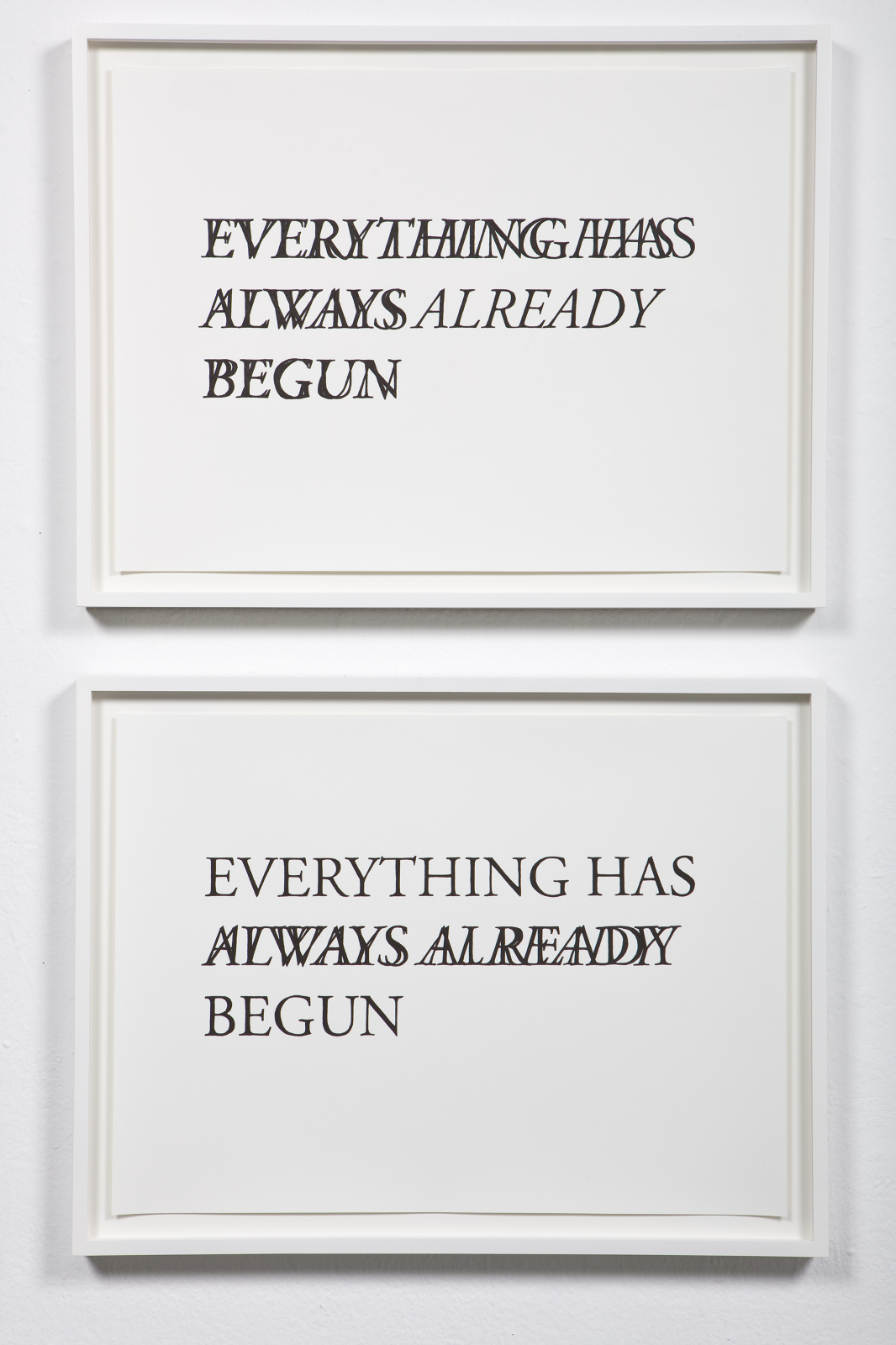 Everything Has Always Already Begun , 2009 Both: Hand drawn ink on paper  23 x 17 inches