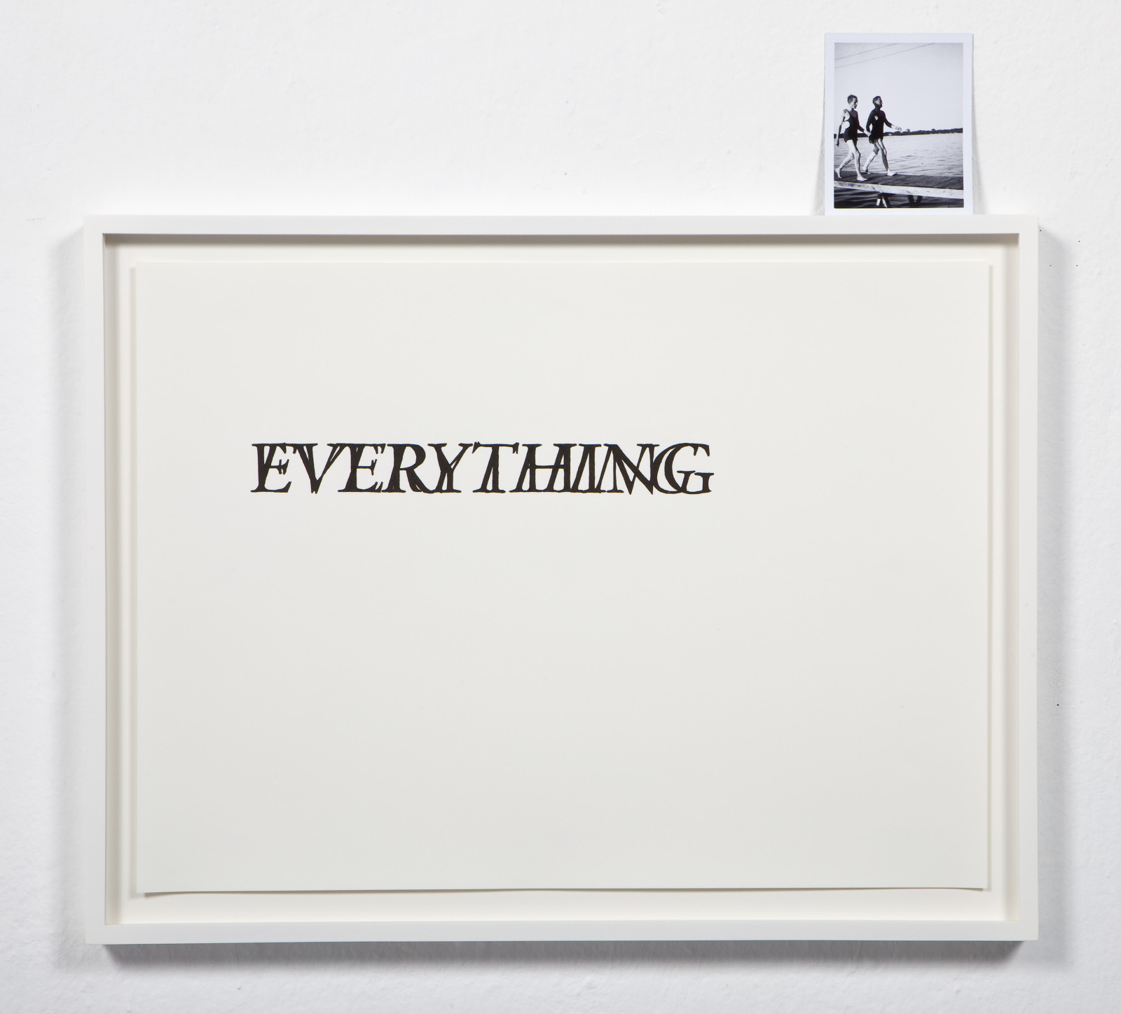 Everything Has Always Already Begun , 2009 Hand drawn ink on paper with 4 x 5 inch black and white instant film 23 x 17 inches
