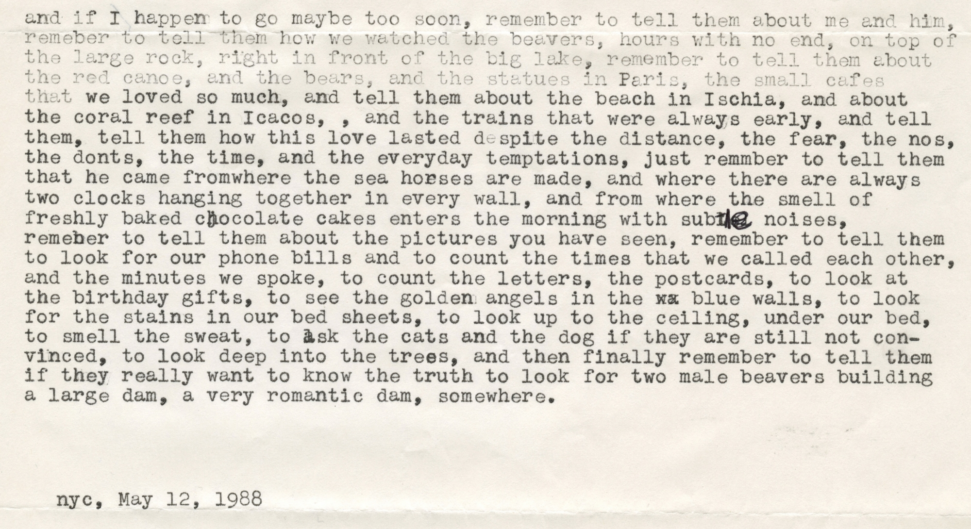 Letter to Carl George from Felix Gonzalez-Torres, May 12, 1988