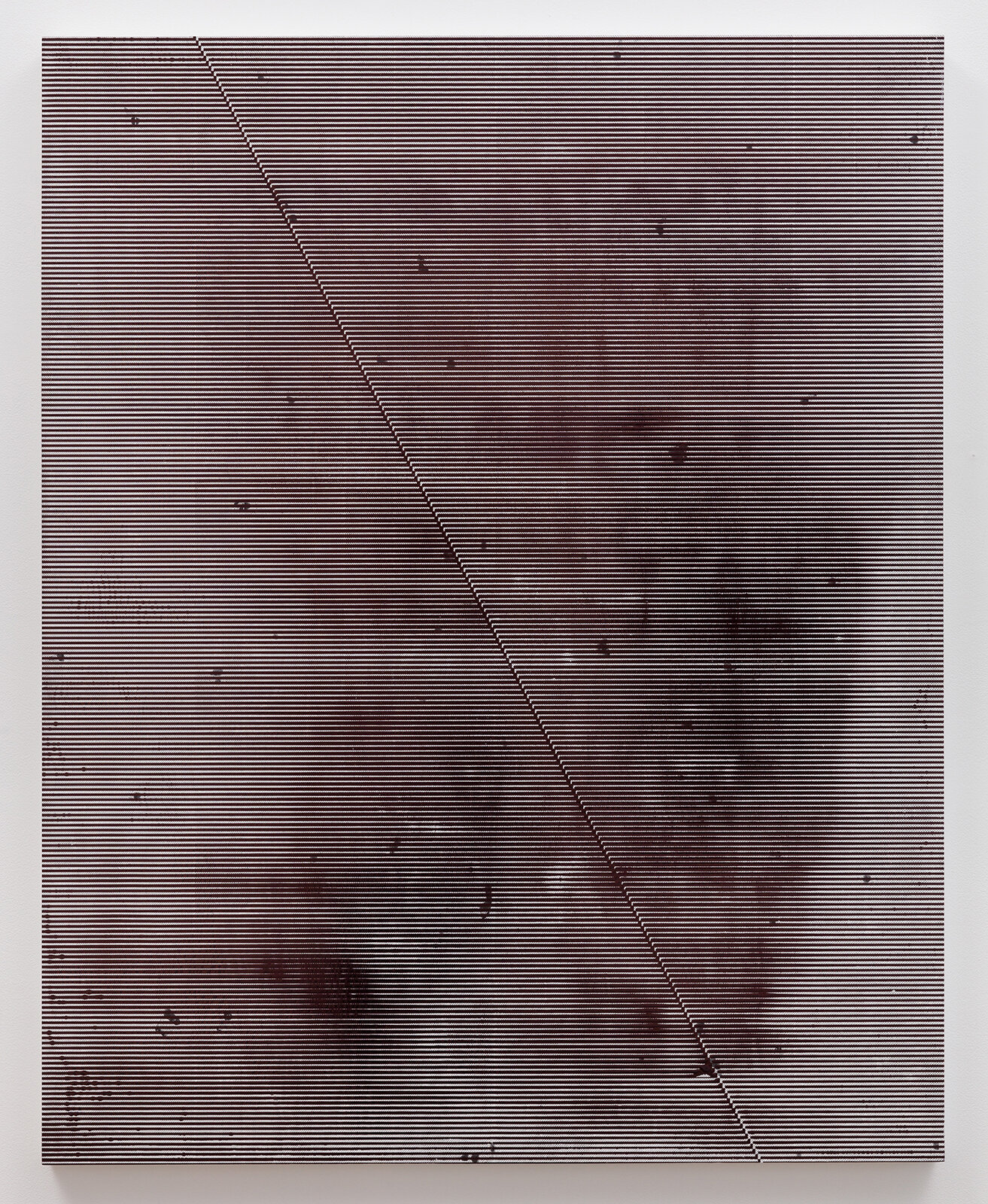 Nothing Has,  2019  50 x 40 inches  Ballpoint pen ink, toner, and gesso on panel