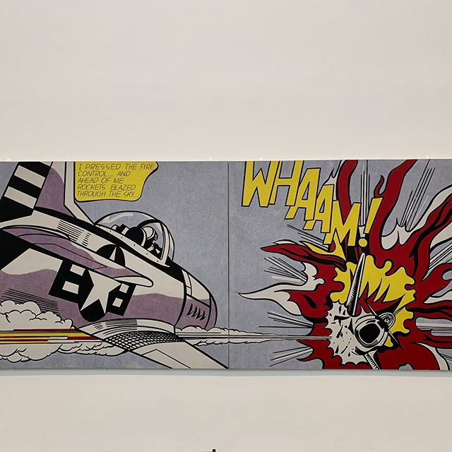 'WHAAM!' A fighter plane fires a missile and hits an approaching enemy. Like it or not, your suitors will initially decipher if you are suitable based on your profile photos. First impressions count whether offline or on. So keep those missiles at bay by making sure you have great photos with your detailed profile.  Artist: Roy Lichtenstein, 1963 . . . #moderndating #onlinedating #datingtips #datingapp #datingprofile #profilepictures #profilephoto #photos
