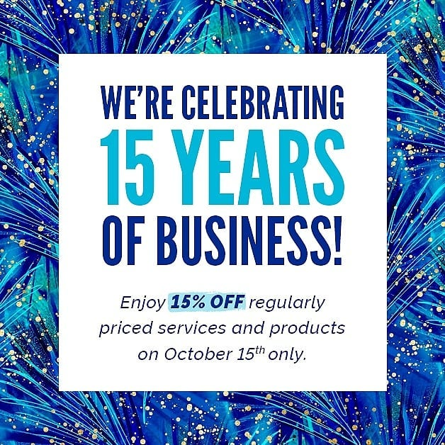 It's our birthday! 🎉 Seattle Sun Tan is celebrating 15 years of business & what better way to celebrate than a gift for YOU?! 🎁 TODAY ONLY stop in to your favorite Seattle Sun Tan or Seattle Sun Light Spa to receive 15% off of all services & skincare products!
