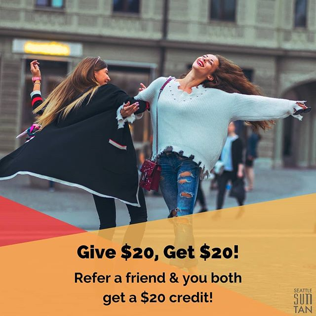 Bring in a friend who is new to Seattle Sun Tan & you will each get a $20 credit!  Our services are so good, you won't stop dancing! 🎶  Check out the link in our bio to learn more about all of our services! 👉