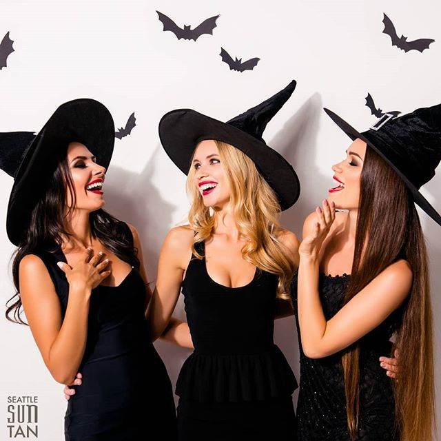 It's Halloween Witches! 🌕 Have a wicked time celebrating & don't forget to stop by Seattle Sun Tan for the LAST DAY of wicked good deals on packages & skincare products!  Click the link in our bio to check out all of our Halloween offers!
