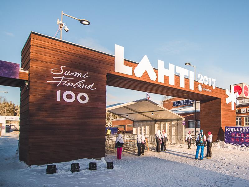 Lahden 2017 hiihtokisojen portti valmistettiin Timberpointin toimittamista elementeistä.