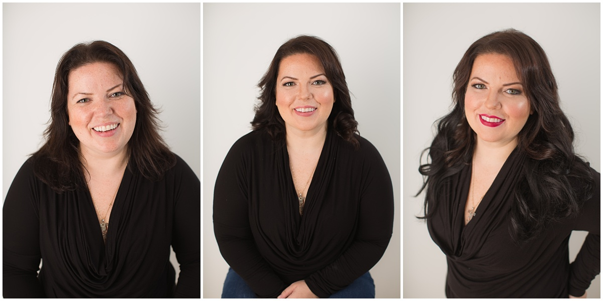 One of our fabulous models. Left is Before, Center is the first look, Right is a more glam look.