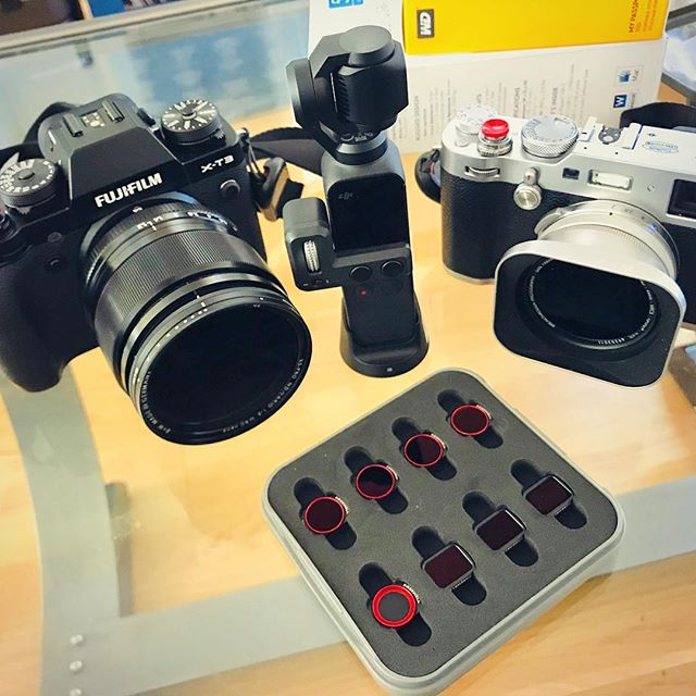 Getting ready for the summer. You know we love using ND glass for our big cameras but did you know we also have filters for our smaller cameras? Here we have the #breakthroughphotography 49mm X2 6 stop ND on our @fujifilmx_us #x100F, the #freewellpro all day 4K series for the #osmopocket, and #bwphotography 62mm XS-Pro ND-Vario for the #xt3 . . . . . #thebroketographers #broketography #fujifilmxt3 #fujix100f #djiosmopocket #ndfilter #summerdaze